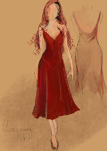 A costume sketch of a knee length flowing red dress with a V shaped neckline.