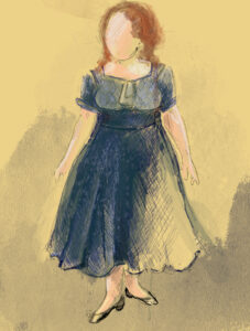 Costume Sketch of a blue dress with puffy over the shoulder sleeves, a light blue top that is tied with a ribbon at the waist, and flows dowen to ankle length in a darker shad navy blue.