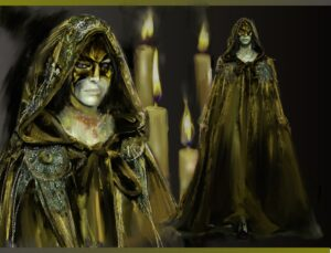 A close up and full body sketch of a person waring a hooded cloak and golden black mask. An ominous air to the look, the cloak covers the entire person, flowing to the ground like molten gold, tied with a bow at the nape of the neck.
