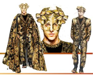 Costume Sketch of Apollo's costume for Death in Venice. He is earing a gold mask with leaves growing out of the top two corners of the mask. He is in a black suit embroidered with intricate god designs that cover the entirety of the suit, and the cape he wears overtop, making him look like the sun itself.