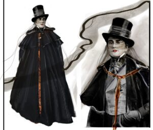 Two angles of the Traveler, one full body showing him in a plain white mask and top hat with a cloak that flows to the ground, covering his entire body. The second is from the waist up with the cloak open, revealing a silver gray suit. Both sketches show an air of mystery in the character, giving away none of his secrets.